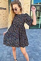 Оригинальное платье с завышенной линией талии в цветочный принт  Busem - черный цвет, M (есть размеры), фото 1