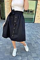 Юбка миди с поясом декорированная пуговицами LUREX - черный цвет, L (есть размеры), фото 1