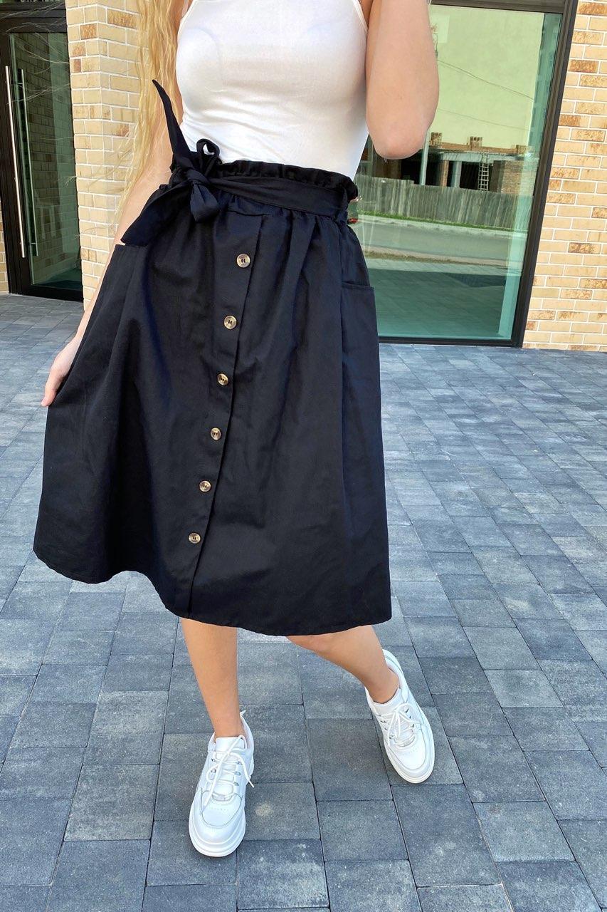 Юбка миди с поясом декорированная пуговицами LUREX - черный цвет, L (есть размеры)