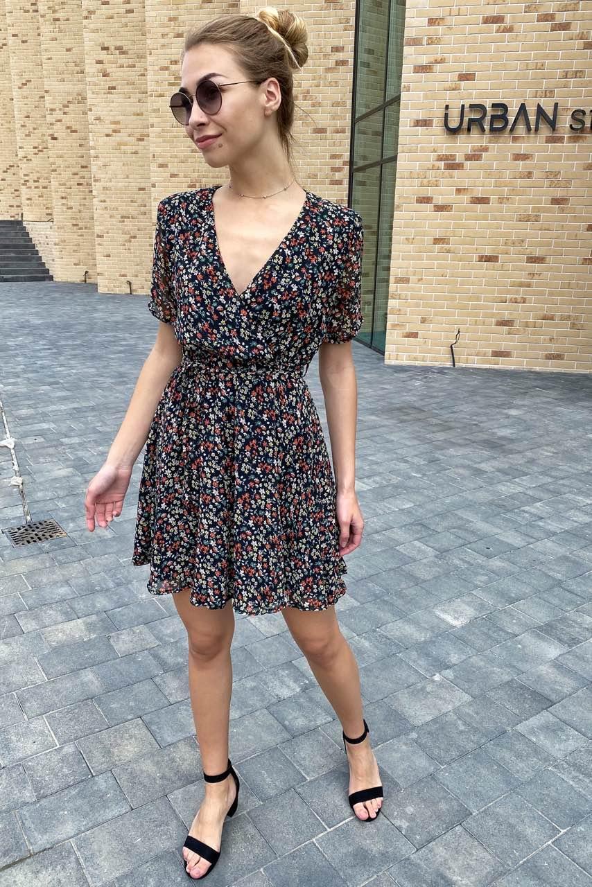 Трендовое шифоновое летнее платье  Sensation Life  - черный цвет, L (есть размеры)