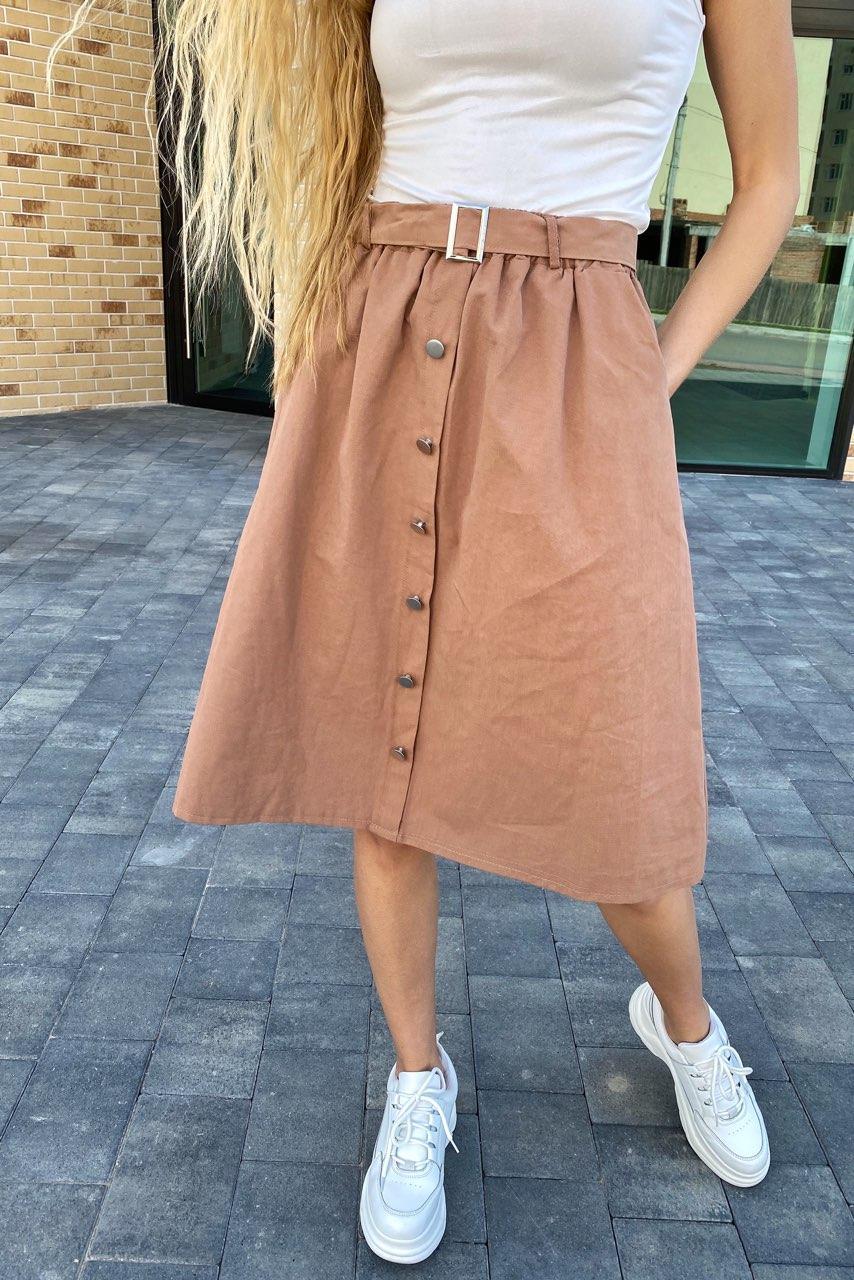 Стильная юбка миди на пуговицах  LUREX - кофейный цвет, S (есть размеры)