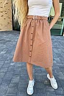 Стильная юбка миди на пуговицах  LUREX - кофейный цвет, S (есть размеры), фото 1