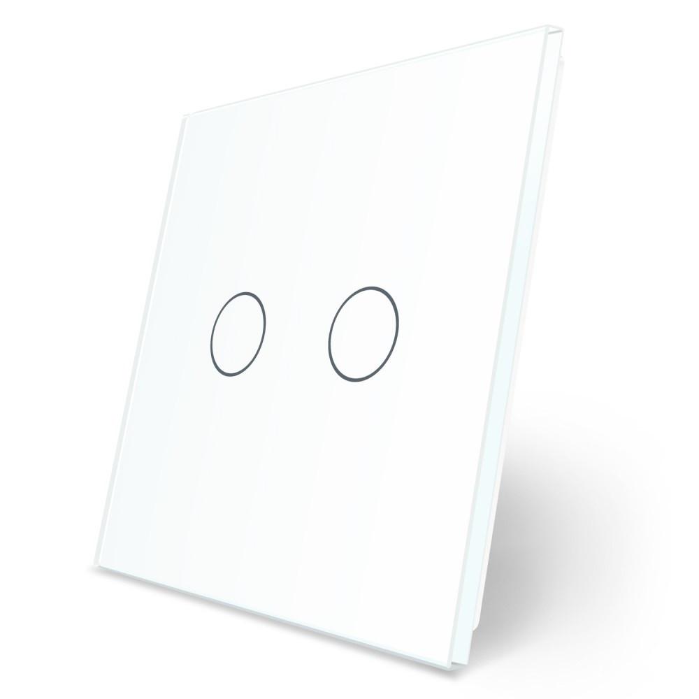 Сенсорная панель выключателя Livolo 2 канала (2) белый стекло (VL-C7-C2-11)