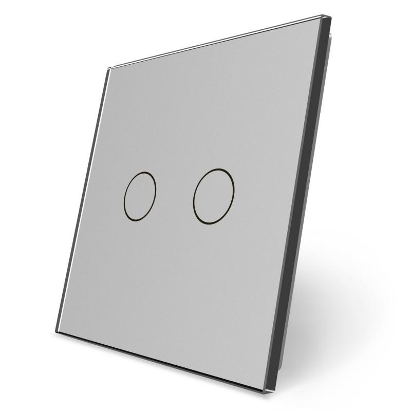 Сенсорная панель выключателя Livolo 2 канала (2) серый стекло (VL-C7-C2-15)
