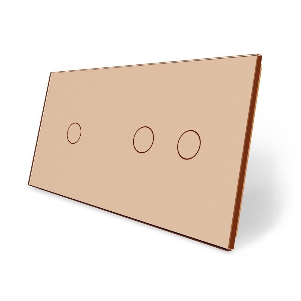 Сенсорная панель выключателя Livolo 3 канала (1-2) золото стекло (VL-C7-C1/C2-13)
