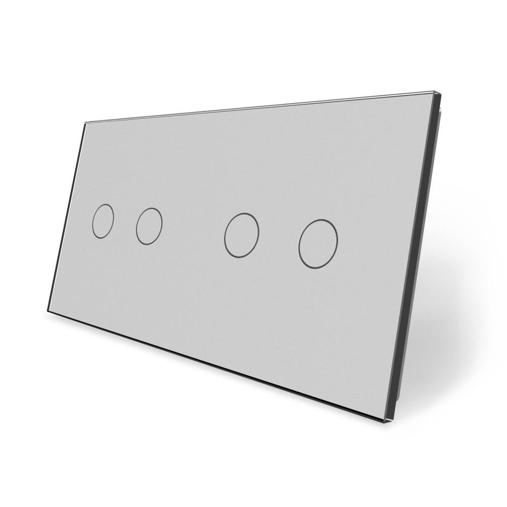 Сенсорная панель выключателя Livolo 4 канала (2-2) серый стекло (VL-C7-C2/C2-15)
