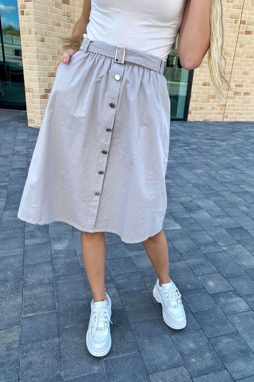 Стильная юбка миди на пуговицах  LUREX - серый цвет, L (есть размеры)