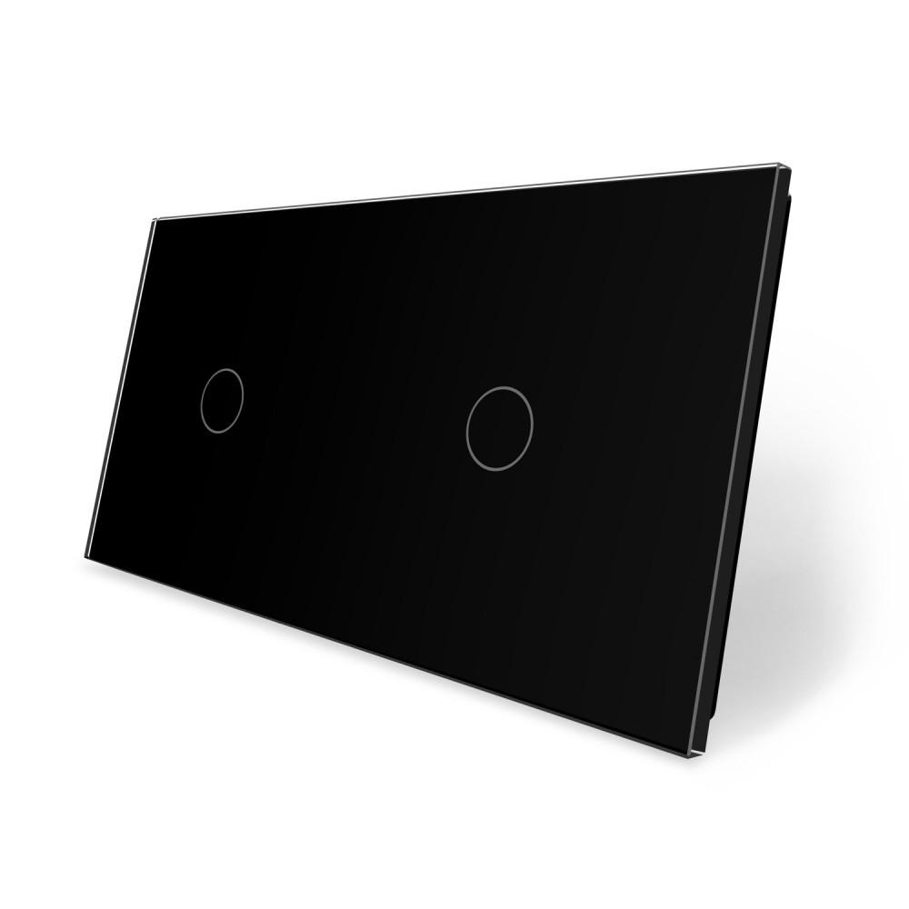 Сенсорная панель выключателя Livolo 2 канала (1-1) черный стекло (VL-C7-C1/C1-12)