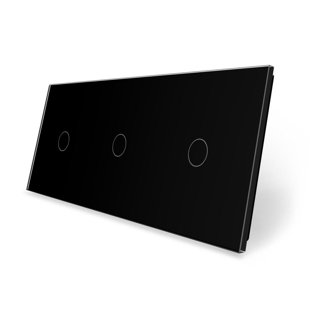 Сенсорная панель выключателя Livolo 3 канала (1-1-1) черный стекло (VL-C7-C1/C1/C1-12)