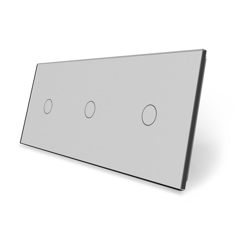 Сенсорная панель выключателя Livolo 3 канала (1-1-1) серый стекло (VL-C7-C1/C1/C1-15)