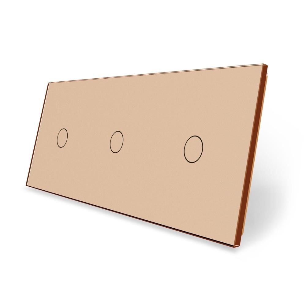 Сенсорная панель выключателя Livolo 3 канала (1-1-1) золото стекло (VL-C7-C1/C1/C1-13)