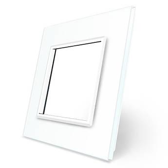 Рамка розетки Livolo 1 пост белый стекло (VL-C7-SR-11)