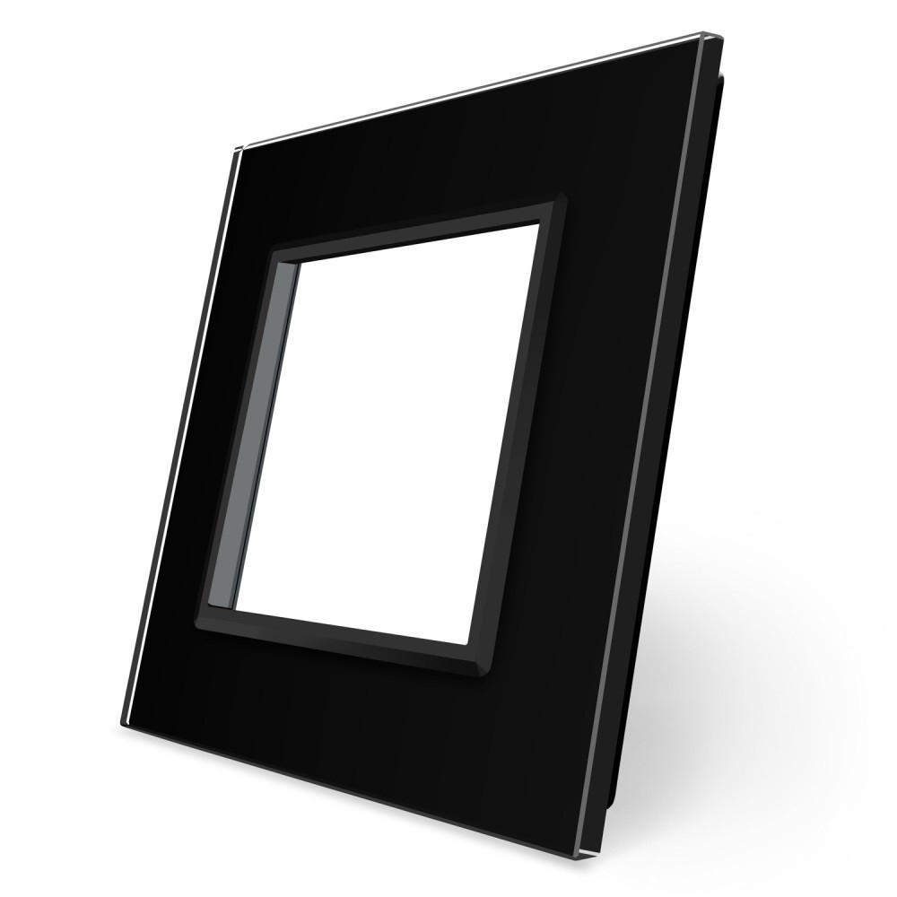 Рамка розетки Livolo 1 пост черный стекло (VL-C7-SR-12)