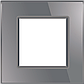 Рамка розетки Livolo 1 пост серый стекло (VL-C7-SR-15), фото 2