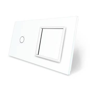 Сенсорная панель выключателя Livolo и розетки (1-0) белый стекло (VL-C7-C1/SR-11)