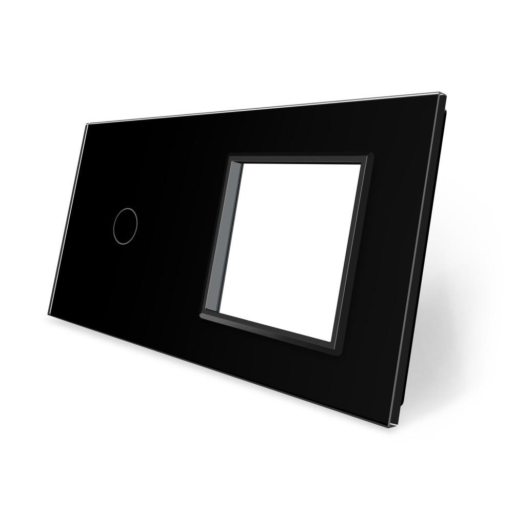 Сенсорная панель выключателя Livolo и розетки (1-0) черный стекло (VL-C7-C1/SR-12)