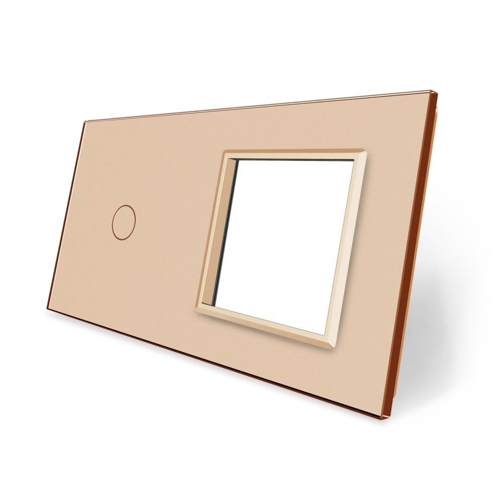 Сенсорная панель выключателя Livolo и розетки (1-0) золото стекло (VL-C7-C1/SR-13)