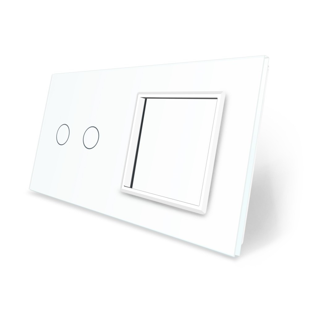 Сенсорная панель выключателя Livolo 2 канала и розетки (2-0) белый стекло (VL-C7-C2/SR-11)