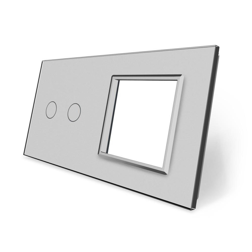 Сенсорная панель выключателя Livolo 2 канала и розетки (2-0) серый стекло (VL-C7-C2/SR-15)