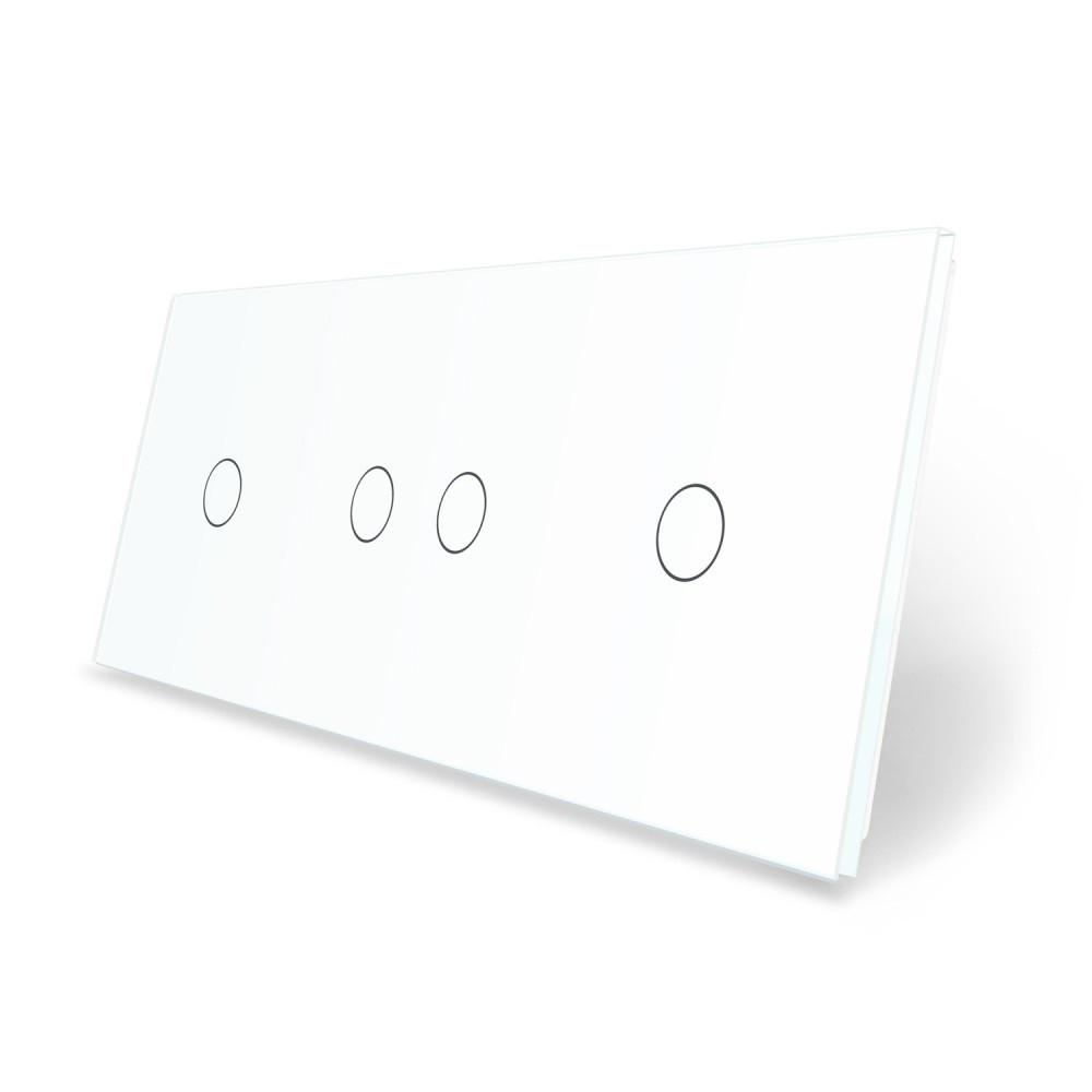 Сенсорная панель выключателя Livolo 4 канала (1-2-1) белый стекло (VL-C7-C1/C2/C1-11)