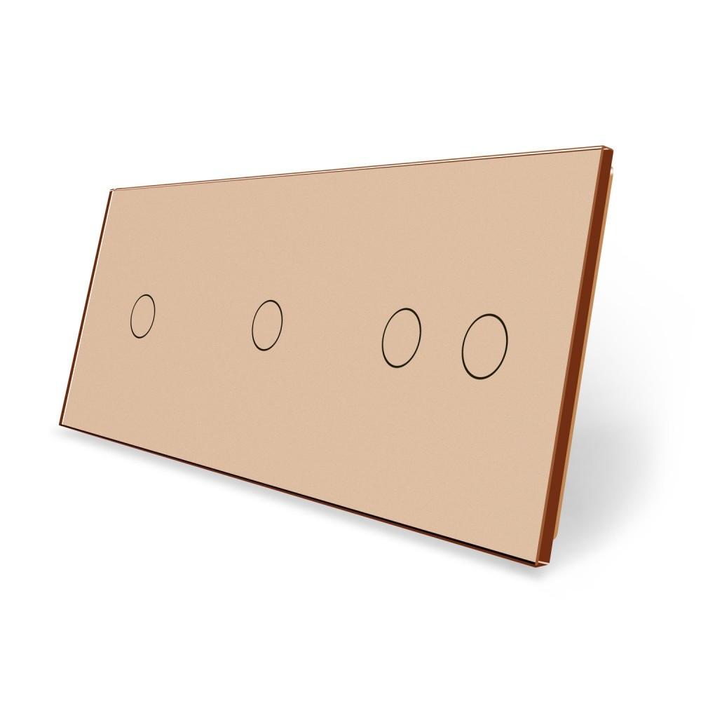 Сенсорная панель выключателя Livolo 4 канала (1-1-2) золото стекло (VL-C7-C1/C1/C2-13)