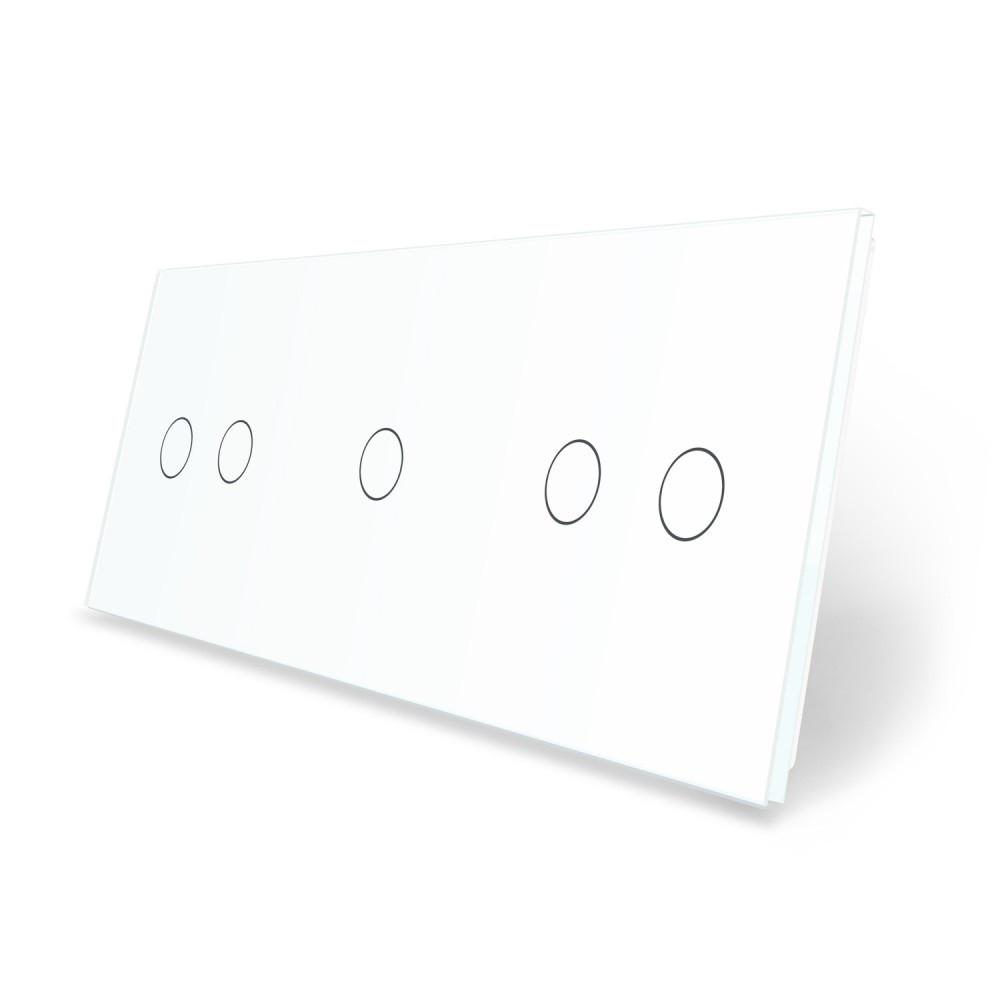 Сенсорная панель выключателя Livolo 5 каналов (2-1-2) белый стекло (VL-C7-C2/C1/C2-11)