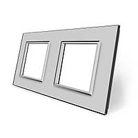 Рамка розетки Livolo 2 поста серый стекло (VL-C7-SR/SR-15), фото 1