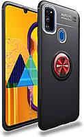 Чехол TPU Ring для Samsung Galaxy M21 / M215 бампер с подставкой Black-Red, фото 1