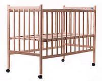 Кроватка  Ясень (без лака,простая, регулировка дна, колеса)