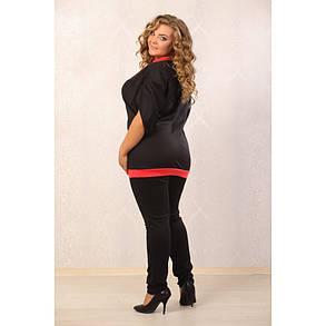 Женская туника Сакура свободного кроя цвет черный размер 48-70, фото 2