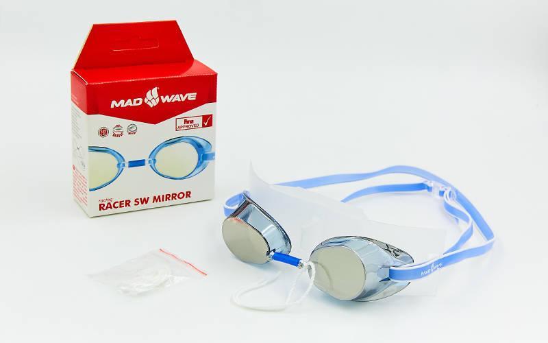 Очки для плавания стартовые MadWave RACER SW MIRROR M045502 (поликарбонат, силикон, зеркальные, цвета в