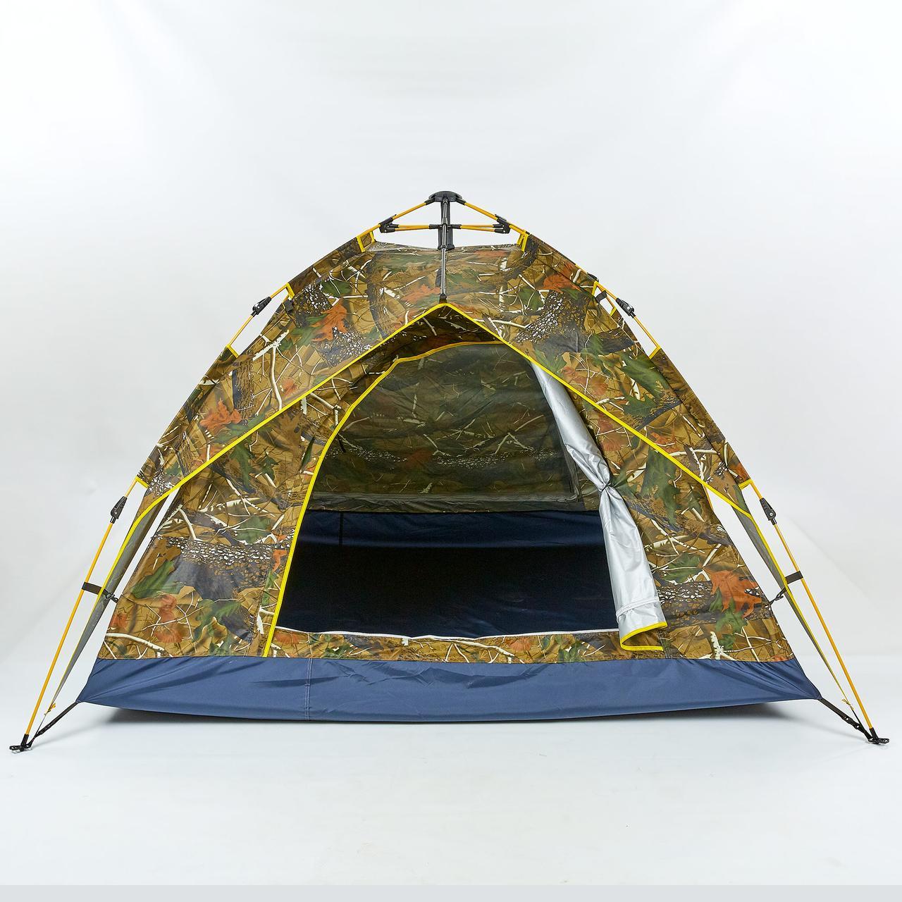 Палатка-автомат с автоматическим каркасом 4-х местная TY-0539 (р-р 2х2х1,35м, 2 слоя, PL, защитный цвет Лес)