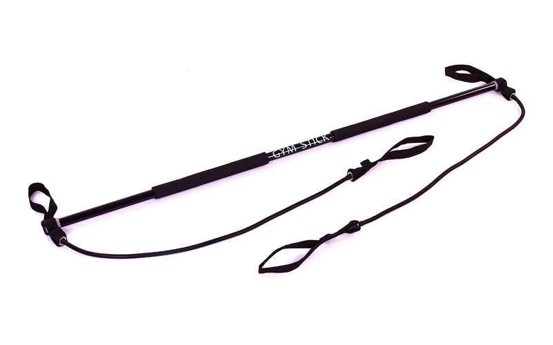 Палка гимнастическая для фитнеса с эспандерами Gym Stick FI-4412 (пластик, неоп, l-130см, l эсп-80см)