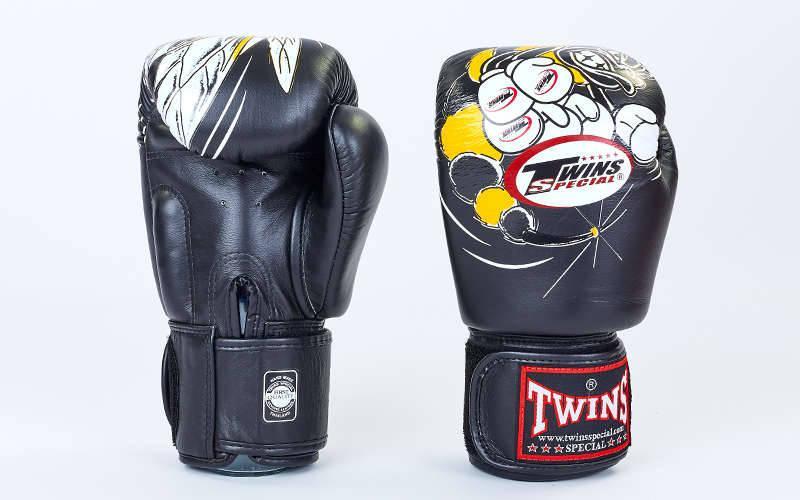 Перчатки боксерские кожаные на липучке TWINS FBGV-3-15-WH (р-р 10-18oz, черный) FBGV-15-BK