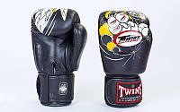 Перчатки боксерские кожаные на липучке TWINS FBGV-3-15-WH (р-р 10-18oz, черный) FBGV-15-BK, фото 1