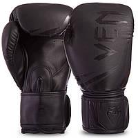 Перчатки боксерские кожаные на липучке VENUM CHALLENGER 3.0 VENUM-03525-114 (р-р 10-14oz, черный)