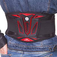 Пояс защитный для мотоциклиста SCOYCO U08 (PU, полиэстер, р-р регулируемый, черный-красный)