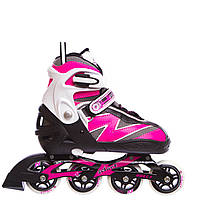 Роликовые коньки раздвижные Zelart Z-093P-38-41 размер 38-41 белый-розовый, фото 1
