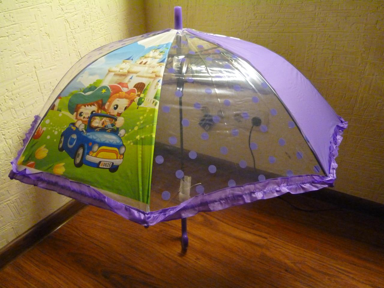 Детский зонт трость для девочки в фиолетовом цвете