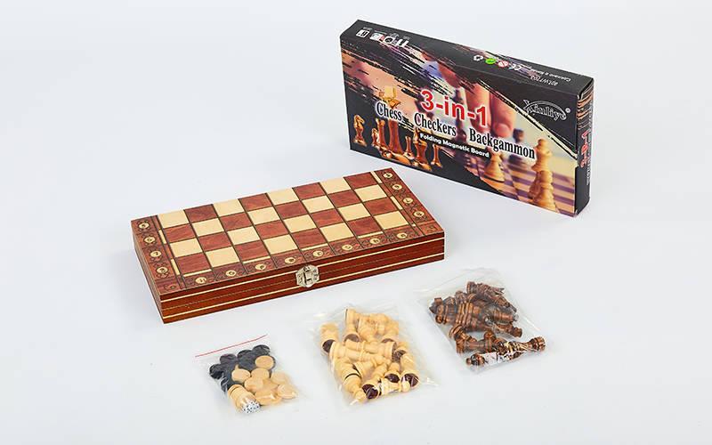 Шахи, шашки, нарди 3 в 1 дерев'яні з магнітом W7703H (фігури-дерево, р-р дошки 34см x 34см)