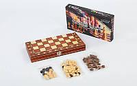 Шахи, шашки, нарди 3 в 1 дерев'яні з магнітом W7703H (фігури-дерево, р-р дошки 34см x 34см), фото 1