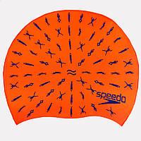 Шапочка для плавання дитяча SPEEDO JUNIOR SLOGAN PRINT 808386B966 (силікон, червоний), фото 1