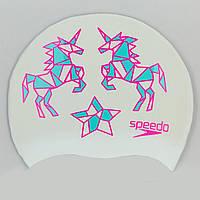 Шапочка для плавания детская SPEEDO JUNIOR SLOGAN PRINT 808386B967 (силикон, белый-розовый)
