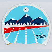 Шапочка для плавания SPEEDO SLOGAN PRINT 808385B956 LIGHT ADRIATIC (силикон, голубой)