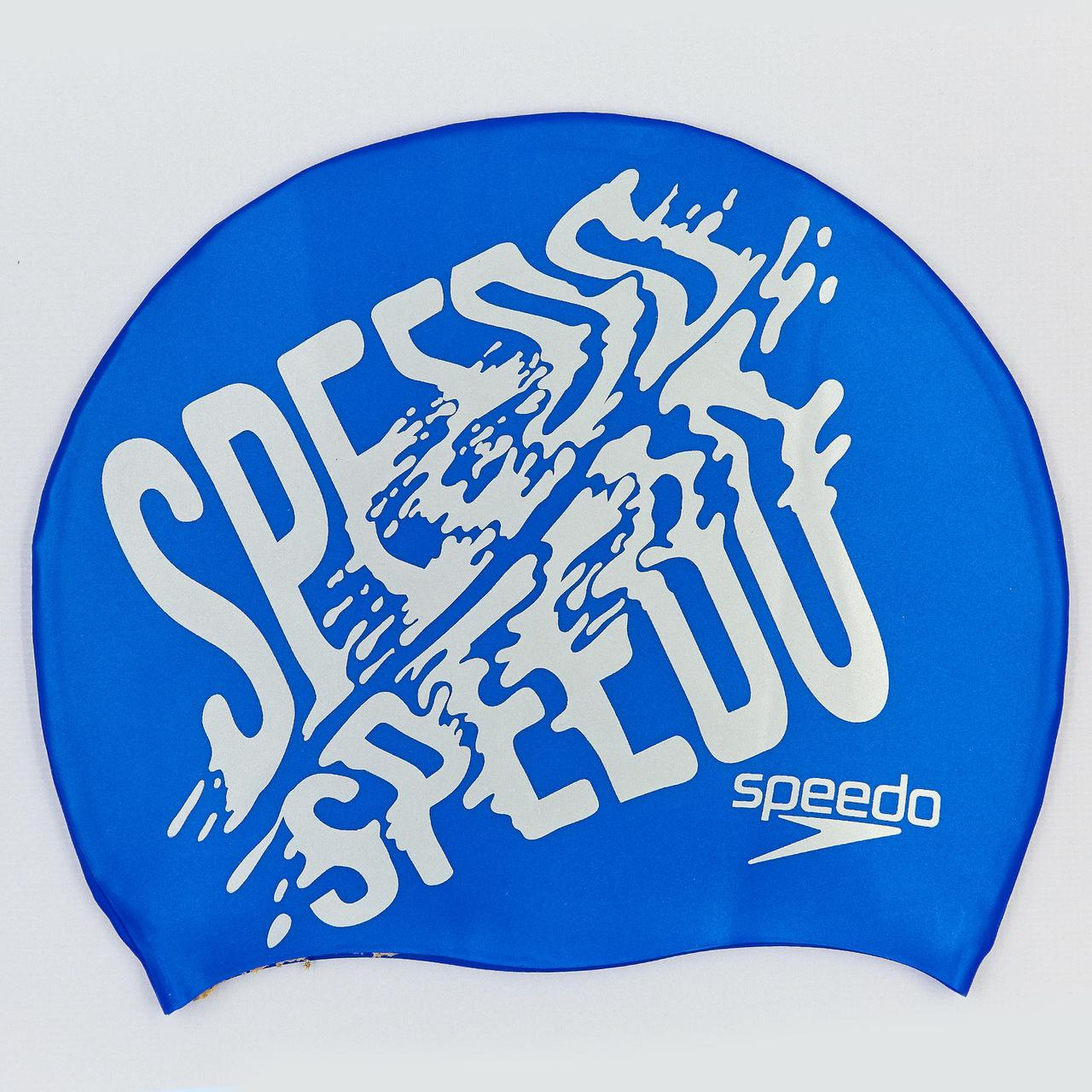 Шапочка для плавання SPEEDO SLOGAN PRINT 808385B957 (силікон, синій-сірий)