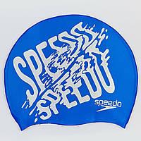 Шапочка для плавання SPEEDO SLOGAN PRINT 808385B957 (силікон, синій-сірий), фото 1