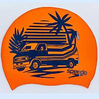 Шапочка для плавания SPEEDO SLOGAN PRINT 808385C859 (силикон, оранжевый-синий)
