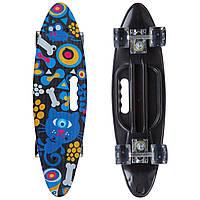 Скейтборд круизер пластиковый PC дека с отверстием и светящимися колесами SK-885-1 (PU светящ, р-р 60x17см,, фото 1