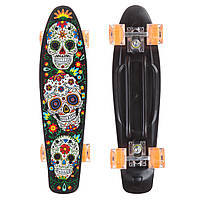 Скейтборд пластиковый Penny 22in со светящимися колесами SK-881-7 с рисунком (колесо-PU, р-р деки 56х15см,, фото 1