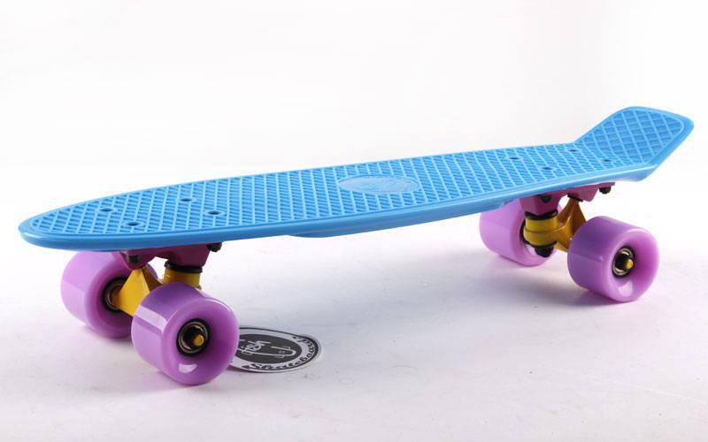 Скейтборд пластиковий Penny Original FISH 22in однотонна дека SK-401-36 (синій-жовтий-фіолетовий)